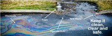 Oily litter storm drain with arrows