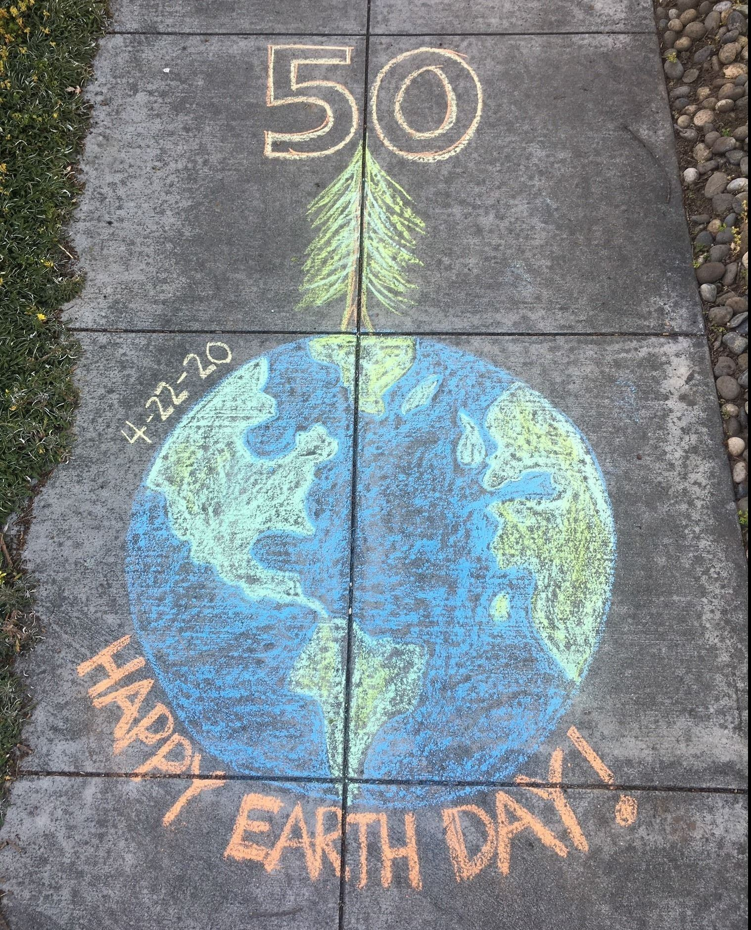 Planet Earth Chalk Drawing