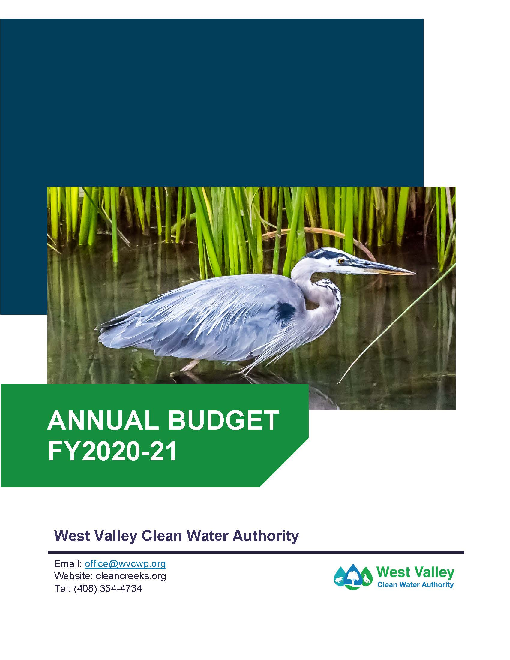 Cover Page of FY 2020-21 Adopted Operating Budget
